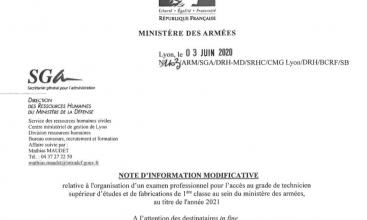 Information modificative examen TSEF 1 au titre de 2021