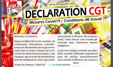 Syndicat Arsenal de Toulon - CSE du 08/09/2020 - Déclaration CGT Mesures Covid 19 et conditions de travail