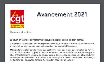 Syndicat AIA Clermont Ferrand - Tract avancement 2021